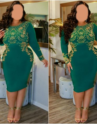 African Attire Gown for women Golden Beaded Stone work And Spandex Gowns