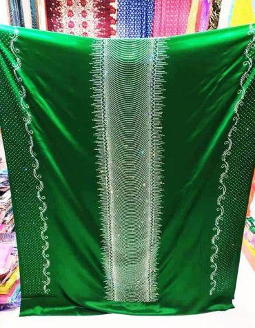 African Beaded Round Rhinestone Work Satin Slik Wedding Dress Material For Women