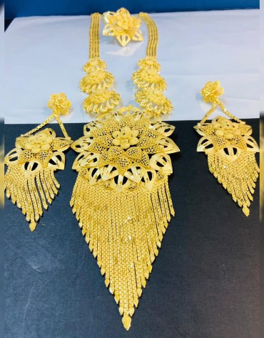 African Latest 2 Gram Gold Floral Designer Necklace For Women Wear Wedding