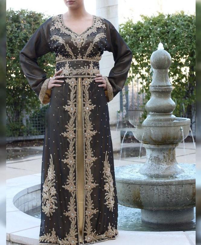 African Attire Kaftan Dress For Women Crystal Stone Work Chiffon Fabrics Moroccan