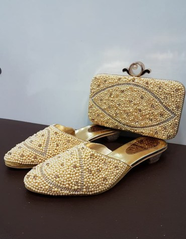 African beautiful shoes & handbag Golden Stone & Pearl Designs for Women's