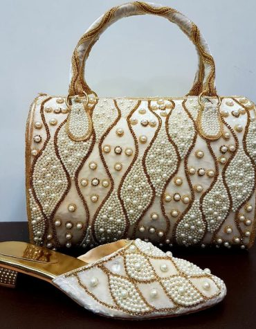 African Fashionable shoes & handbag Golden Stone &Seed Beads Designs for Party