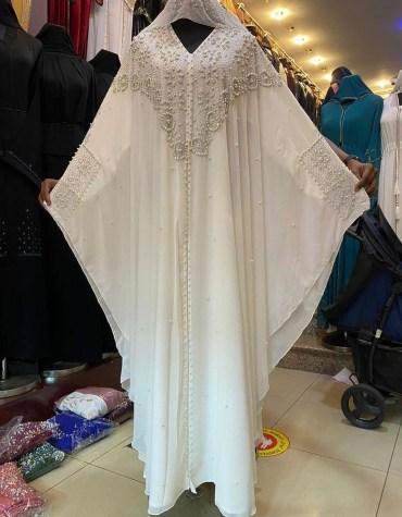 Dubai Chiffon Kaftan with Pearl & Crystal Bead Rhinestone Work Dresses for Women
