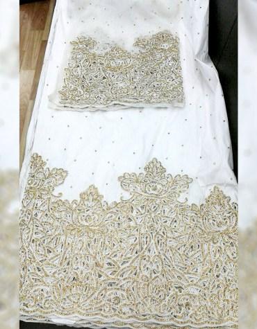 New Stylist Heavy Beaded Wedding Dress Material Silk Nigerian George Wrapper