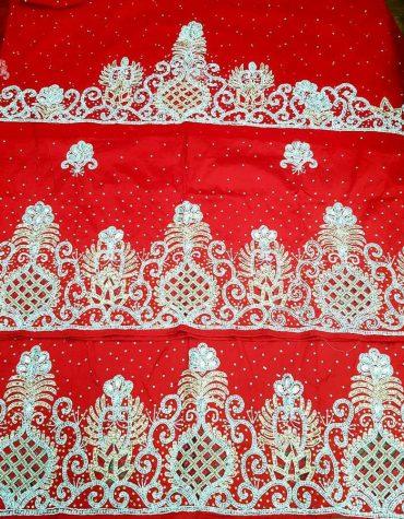 Unique & Trendy Heavy Beaded Wedding Dress Material Silk Nigerian George Wrapper