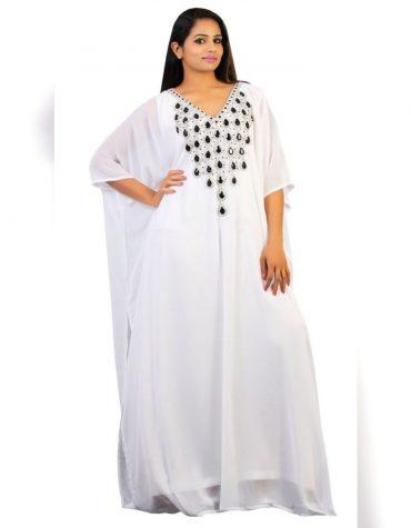 Dubai Kaftan Beaded Moroccan Long Sleeve White African Dresses Form Women