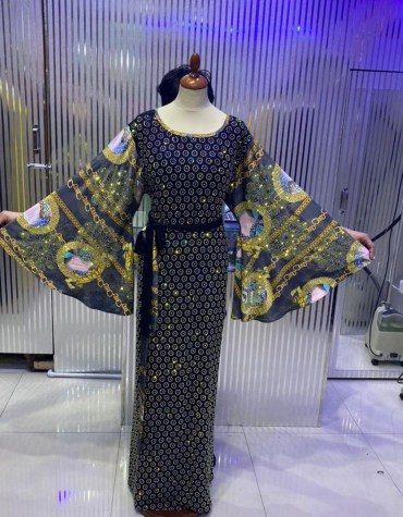 African Attire Rhinestone Work & Embroidery Latest Abaya Dresses for women
