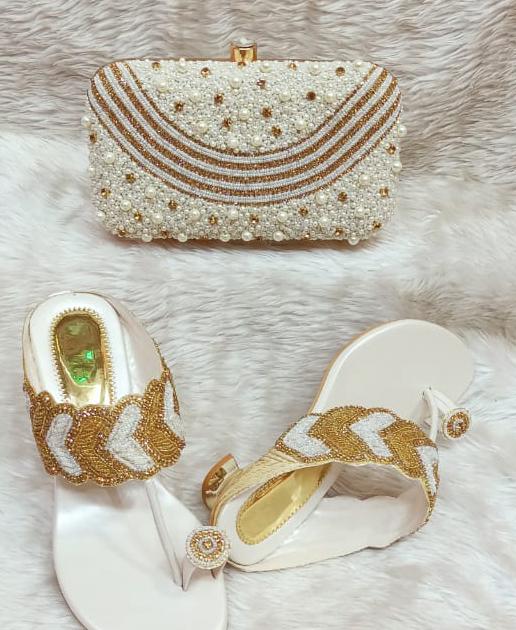 African New Elegant Multi Stone Work Handbag & Pearl Shoe Wedding For Women