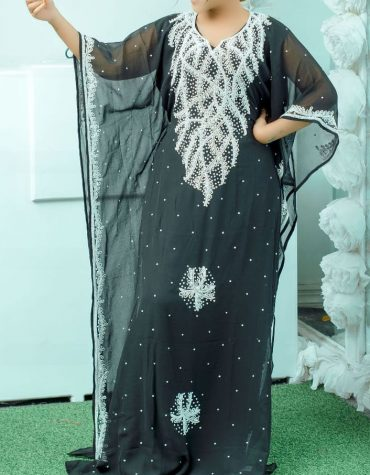 New African Attire Milk White Embroidery Chiffon Kaftan Dresses For Women