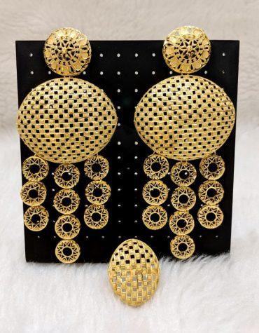 New Fancy & Latest 2 Gram Gold Wedding Party Wear Earrings & Ring for Women
