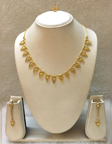 African Golden Long Necklace With Pair of Earrings & Finger Ring Set For Women