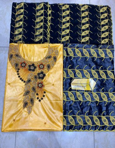 African Attire 100% Super Magnum Gold Getzner Bazin Dress Material for Women