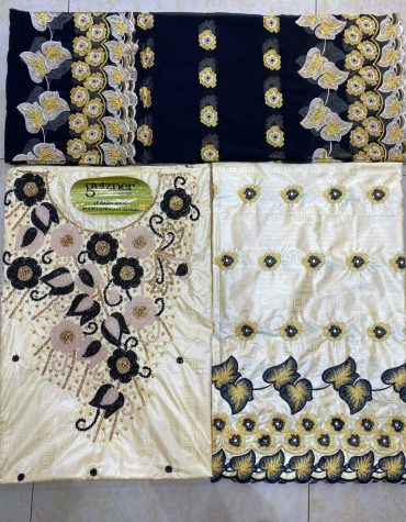 African 100% Super Magnum Gold Riche Bazin Embroidery Dress Material For Women