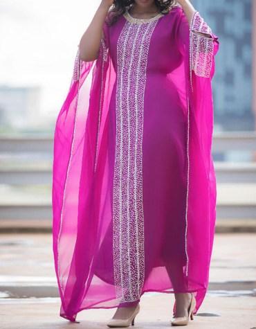 African Attire Silver Rhinestone Work Evening Dress Dubai Kaftan For Women