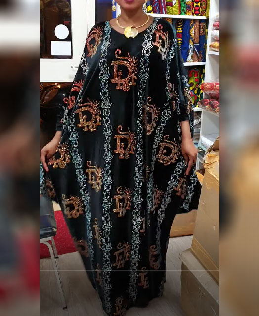 African Long Sleeve With Rhinestone Evening & Party Wear Kaftan for Women