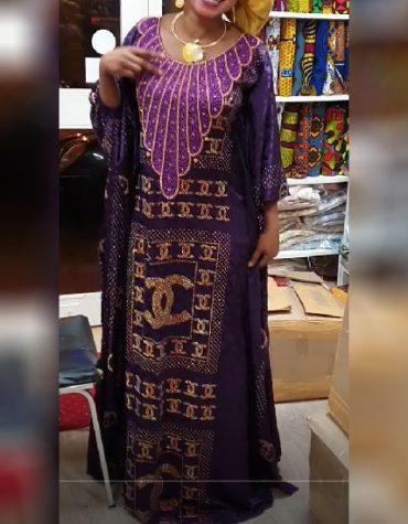 African Sleeve With Rhinestone Evening & Party Wear Kaftan Dress for Women