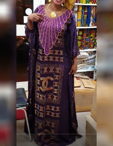 African Sleeve With Rhinestone Evening & Party Wear Kaftan Dress for Women