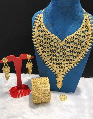 African Party Necklace, Earings, Bangels & Finger Ring Jewellery Set For Women