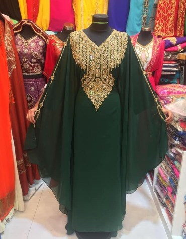 African Attire Golden Embroadry Dubai Kaftan Dresses for Women's Party Wear