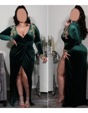 African Attire Full Sleeves Velvet Kaftan Party Wear Dresses For Women