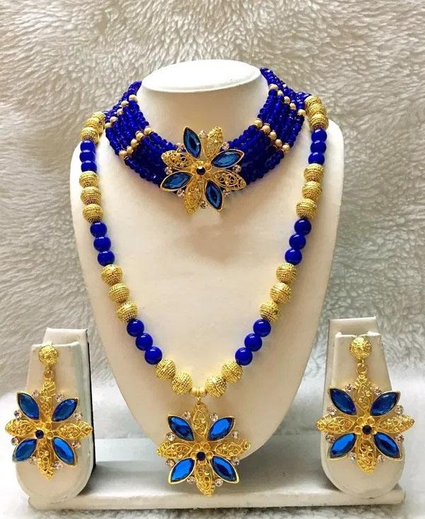 Elegant African Beautiful Necklace & Earrings Jewellery Party Wear For Women