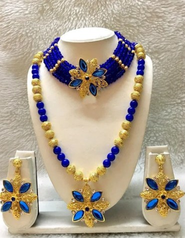 Elegant African Beautiful Necklace & Earrings Jewellery Party Wear For Women