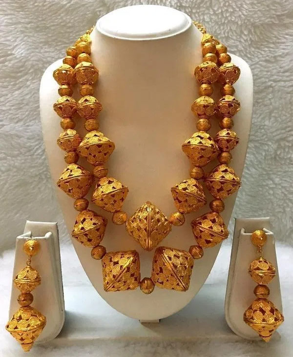 African Gold Plated Necklace With Earrings Jewellery Set Party Wear For Women