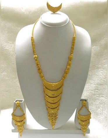 African Golden Long Necklace With Pair of Earrings & Finger Ring Jewellery For Women
