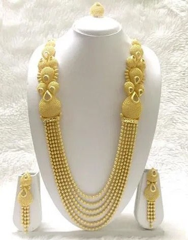 African New Trendy Necklace With Earrings & Finger Ring Jewellery Set For Women