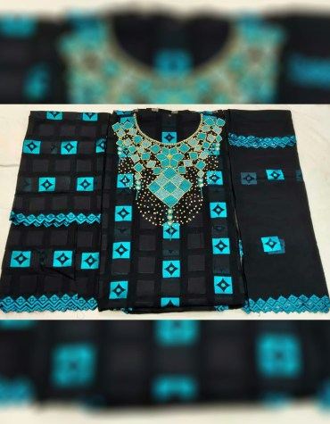 African Swiss Voile Cotton Satin 3 Piece Beaded Embroidery Women Dress Material