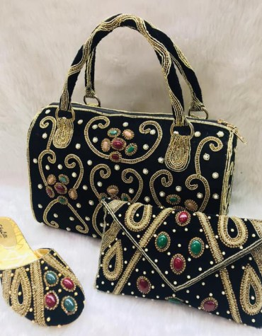 African Golden Beaded Work Handbag With Clutch Bag & Pearl Shoe Combo Pack
