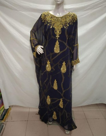 Formal Wedding Embroidery With Rhinestone Work African Kaftan Dresses For Women