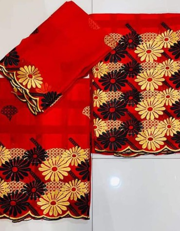 African Swiss Voile Cotton 3 Piece Embroidery Dress Material For Women