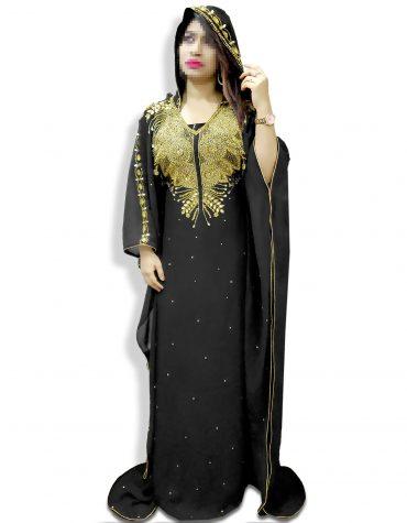 African Moroccan Long Sleeve Plus Size Black Abaya Dresses Beaded Hoodie