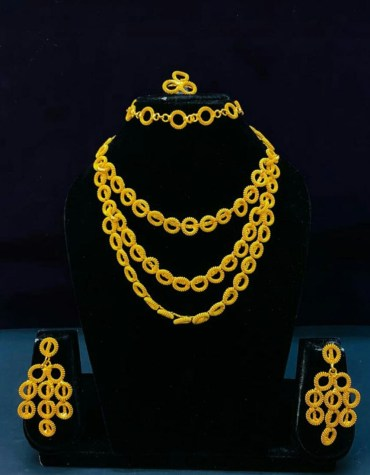 Gold Plated New Look Designer Necklace Jewelry Set For Women