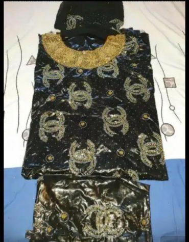 African Attire Floral Designer of Getznar Bazin Perlage Golden Beaded Dress Material