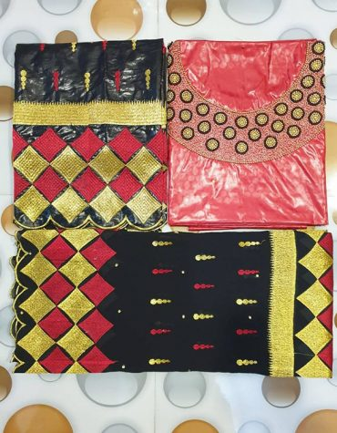 African With Embroidery And 100% Super Magnum Gold Getzner Bazin for Women Muslim Party wear