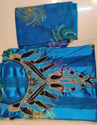 African Attire Riche Dubai New Bazin Gold Beaded Crystal Work Dress Material For Women