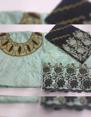 African Fancy Riche Dubai New Bazin Gold Beaded Crystal Work Dress Material For Women