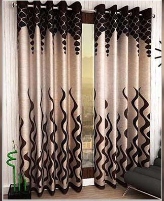2 Piece Eyelet Polyester Long Door Curtain - 9ft, Brown