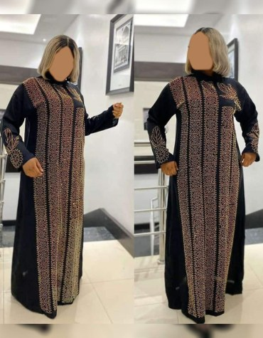 African Attire Evening Abaya for women Kaftan Elegant Rhinestone work