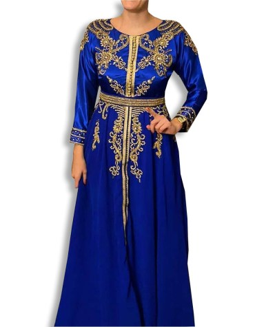 African Elegant Maxi Gown Gold Beaded Fancy Dubai Kaftan Dresses for Women's Party