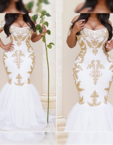 African Attire Open Chest Bridesmaids With Gold Beaded Long Formal Dresses Spandex Kaftan