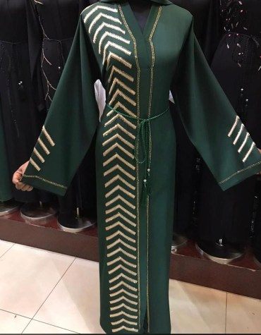 African Fancy Long Sleeve With Silver Rhinestones Moroccan For Women Dubai Abaya Kaftan