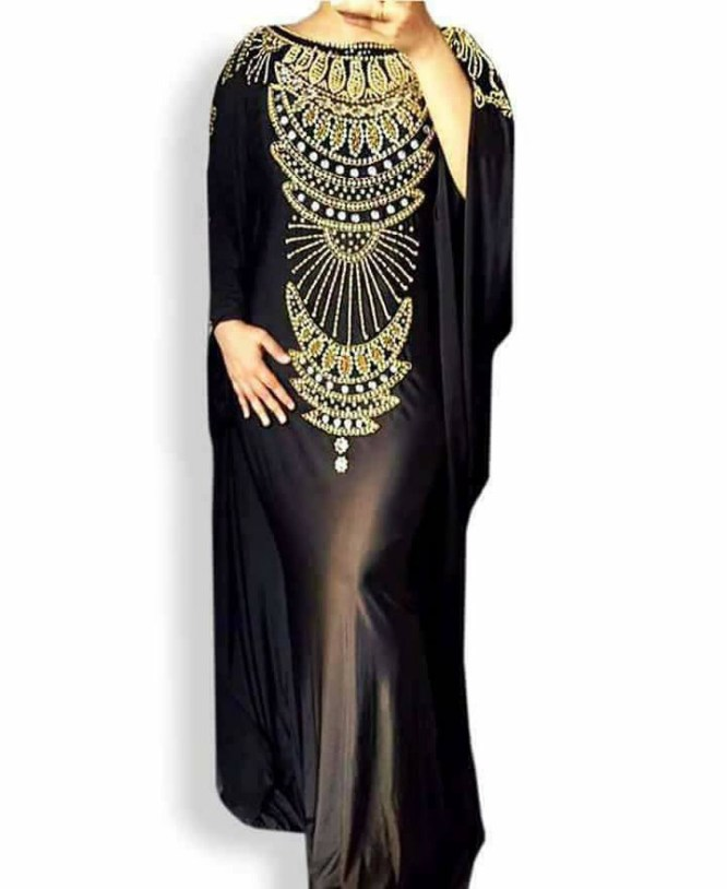 New Gold Stone Beaded Lycra Long Back Cape Dress Moroccan Beaded Mermaid Evening Gown