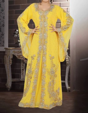 New Trendy Gold Embroidery African Evening Gown Long Abaya Caftan Dresses for Women