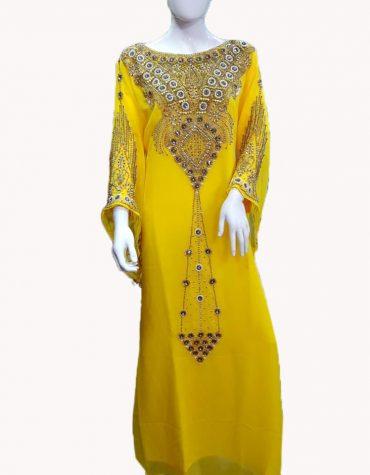 New Trendy Dubai Kaftan for Women Beads work Maxi Dress Gown Formal Chiffon African Wear