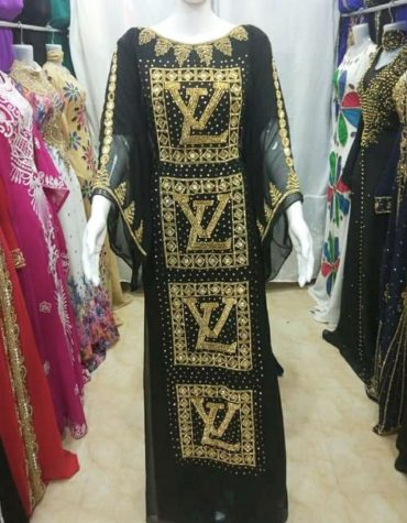 New Trendy African Attire chiffon kaftan Dress with Crystal Stone Work Material For Women