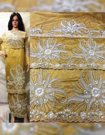 New Beautiful Nigerian Bridesmaid Beaded Wrapper Taffeta George Fabric Dress Material
