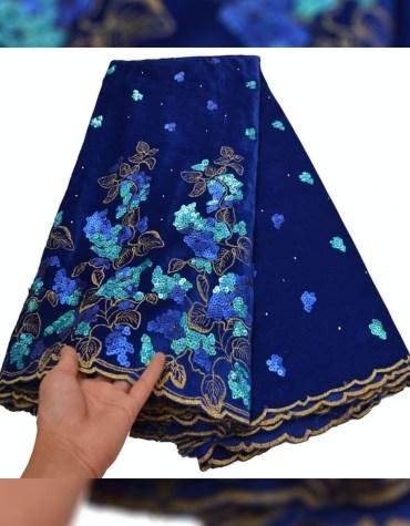 New African Latest Rhinestone Work Velvet Party Dress Material For Women
